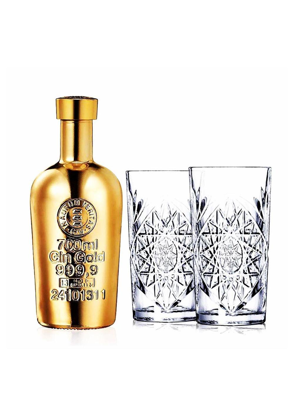 Gin - Gin gold 3x70cl+6 Glasses (France) -